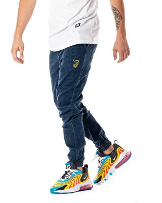 Spodnie Jeans Jogger Grube Lolo Dymek Niebieskie / Złote
