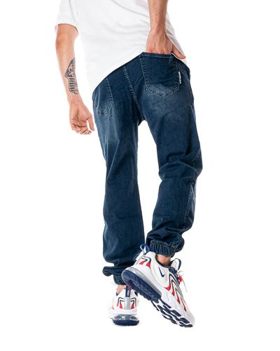 Spodnie Jeans Jogger Grube Lolo Mustache Marmurkowe Niebieskie