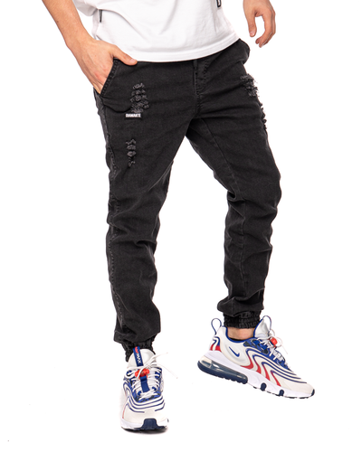 Spodnie Jeans Jogger Unisex Diamante Wear Ripped Czarne