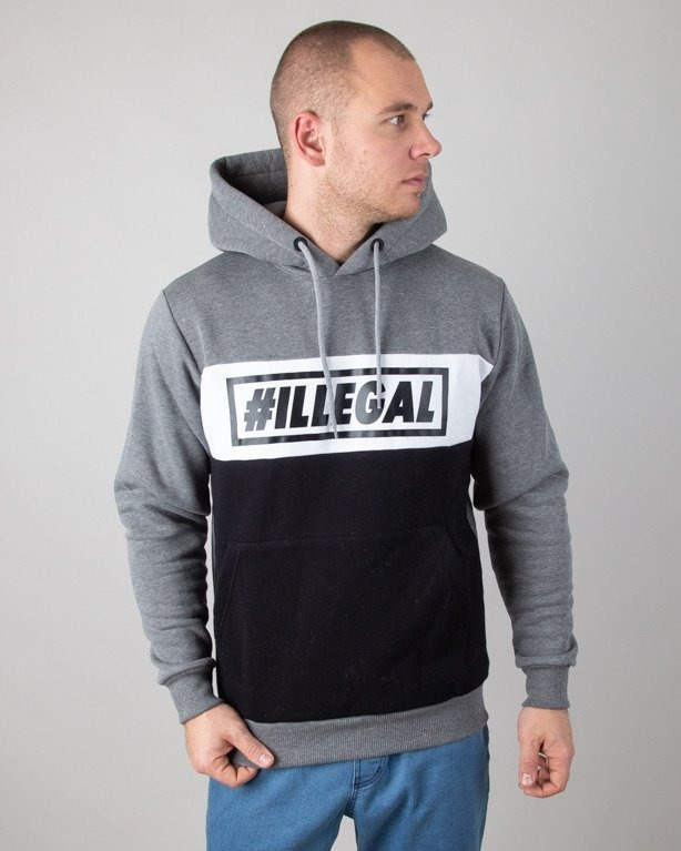 Bluza Illegal Hoodie Color Grey-Black