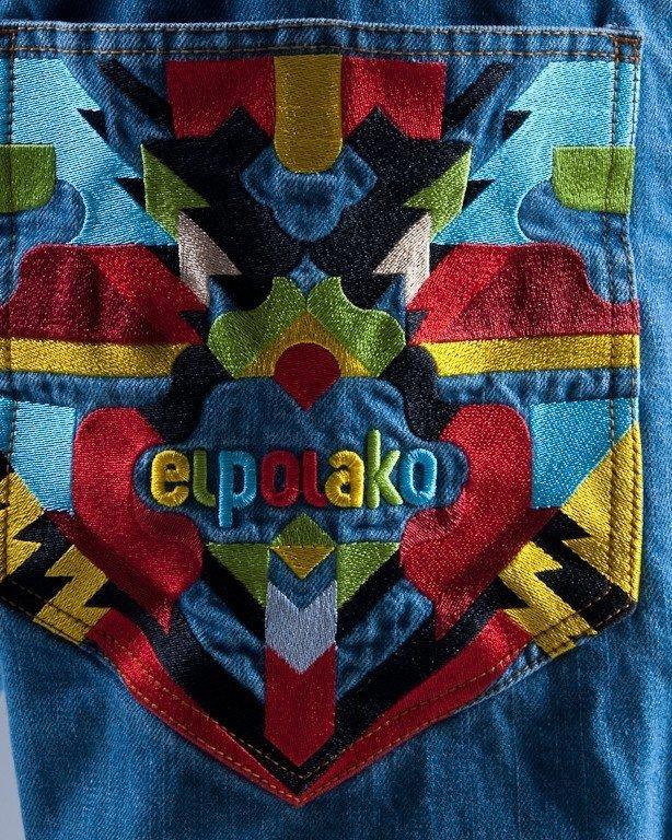 EL POLAKO SPODNIE JEANS TOTEM BLUE