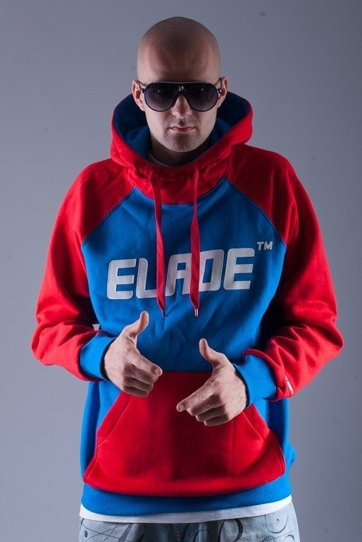 ELADE BLUZA Z KAPTUREM NAME RED-BLUE