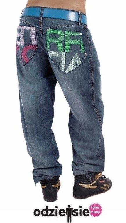 Endorfina Spodnie Jeans Baggy Fingerprint