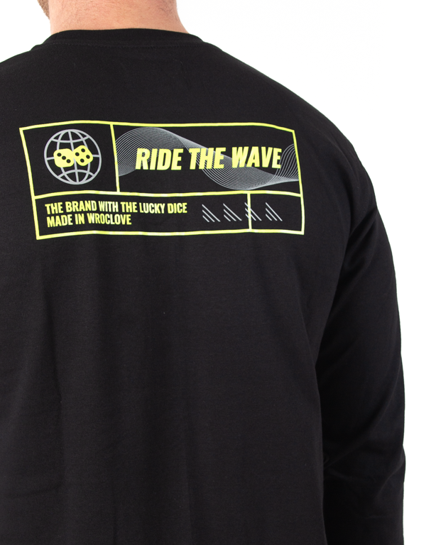 Longsleeve Lucky Dice Ride The Wave One Black-Neon