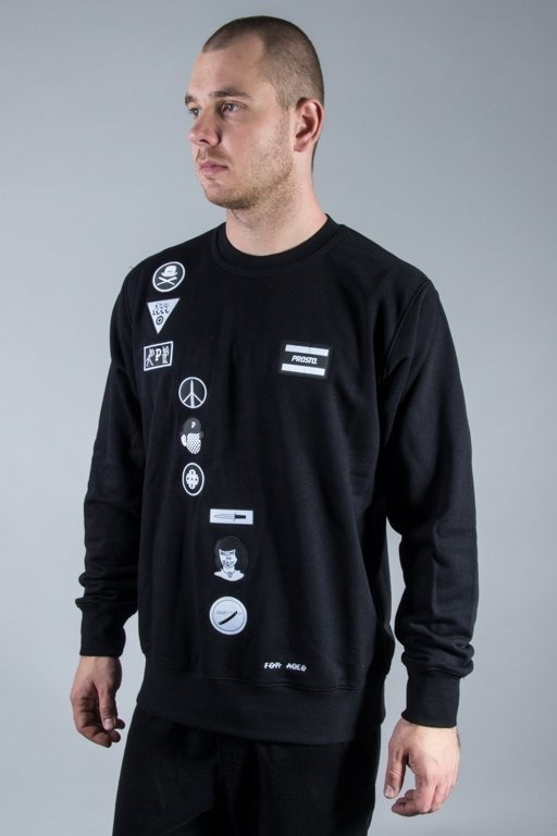 PROSTO CREWNECK CLOCKWORK SLIDE BLACK