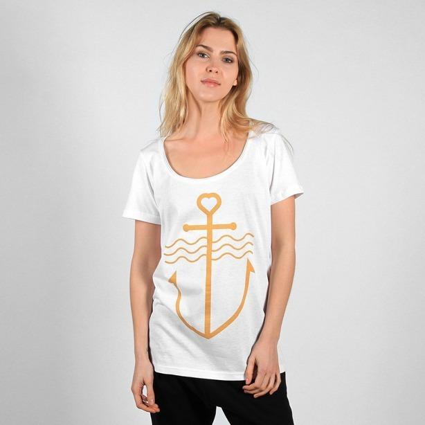 Prosto Koszulka Damska Anchor White