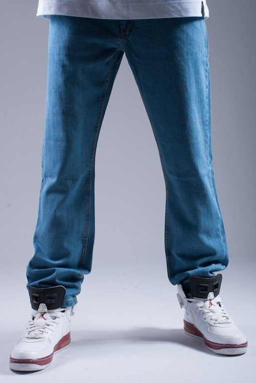 SSG SPODNIE JEANS SLIM SMG HAFT LIGHT BLUE-RED