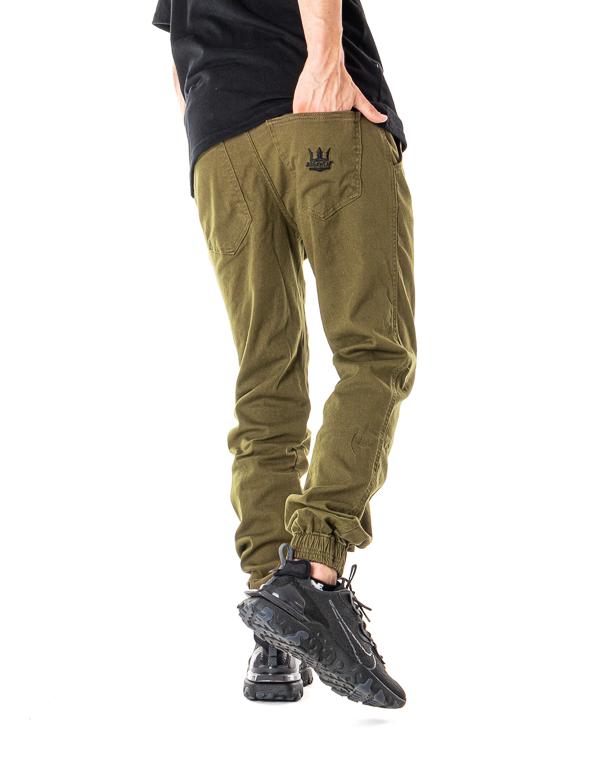 Spodnie Materiałowe Jogger Jigga Wear Crown Khaki / Czarne