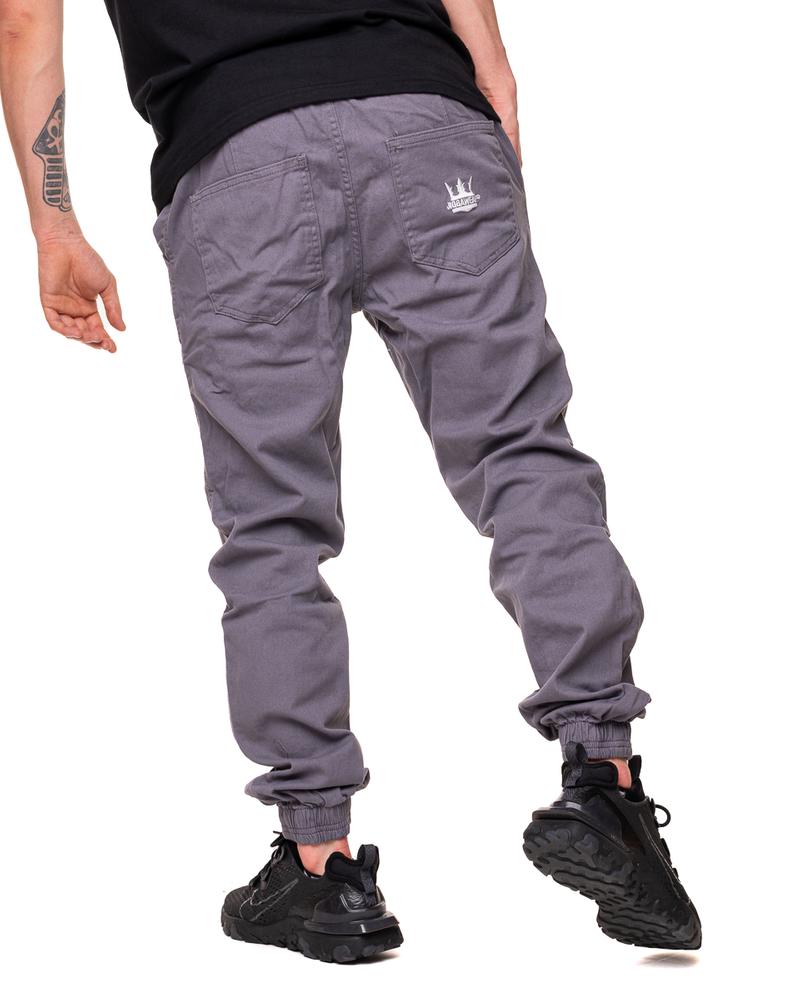 Spodnie Materiałowe Jogger Jigga Wear Crown Szare / Białe