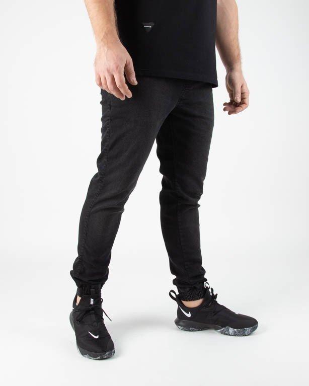 Spodnie Oponent Jeansy Jogger Basic Black Przetarcia